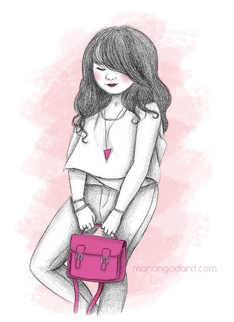 """Illustration """"Pink bag"""""""
