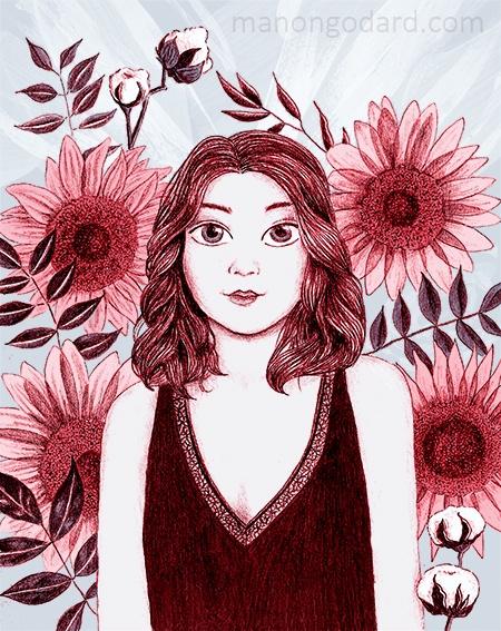 Illustration Tournesols roses