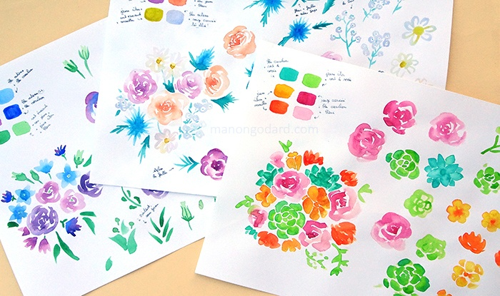 Planches de fleurs à l'aquarelle