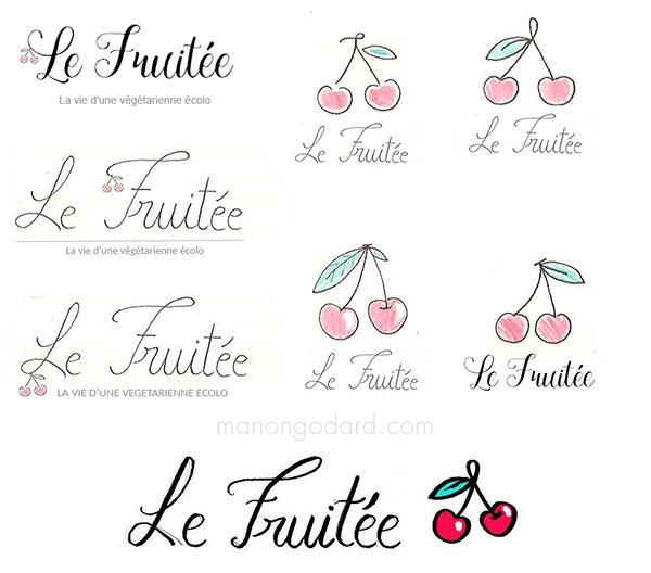 Recherches / croquis pour la création d'un logo et d'une bannière de blog.