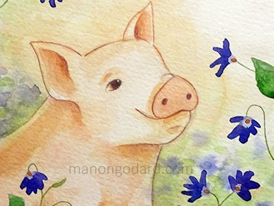 Cochon et violettes à l'aquarelle