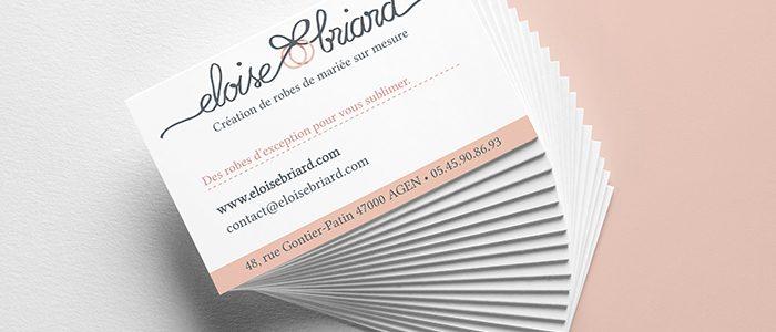 Logo et carte de visite d'une entrepreneuse créatrice de robes de mariée
