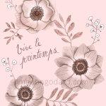 Illustration «Vive le printemps» – Dessin de fleurs au crayon à papier