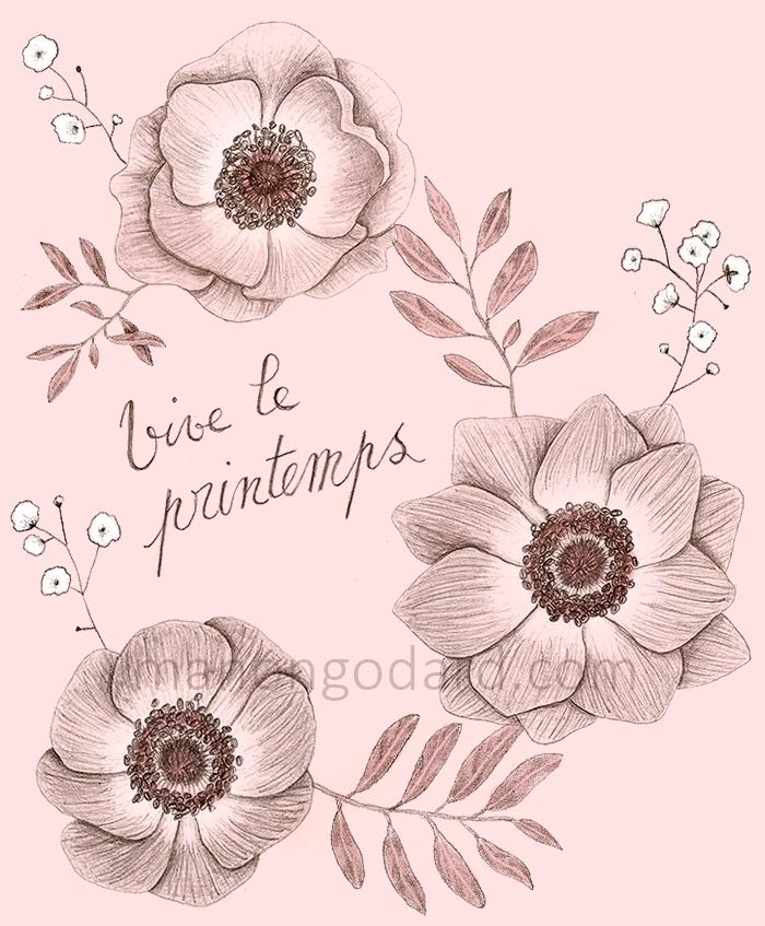 Illustration 'Vive le printemps' - Dessin de fleurs au crayon à papier - Anémones, oliviers, gypsophiles