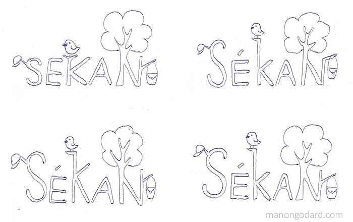 Planche de recherches pour le logo SéKan, marque de sacs