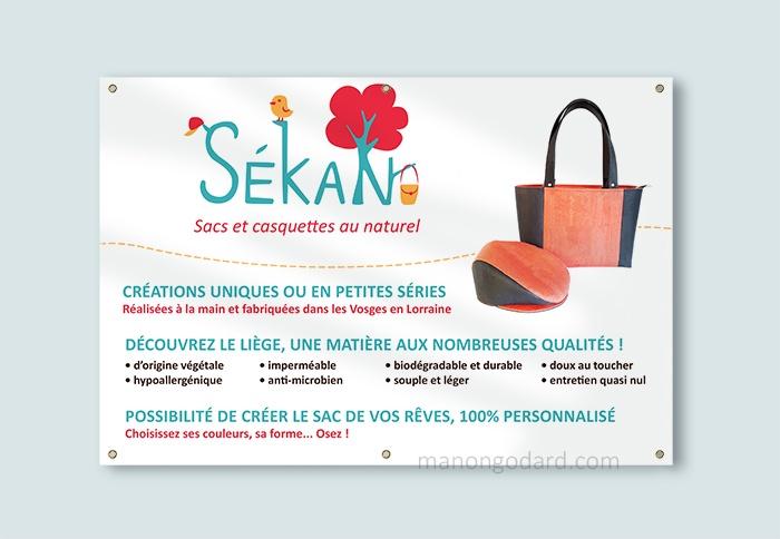 Bâche publicitaire pour SéKan, entrepreneuse créatrice de sacs