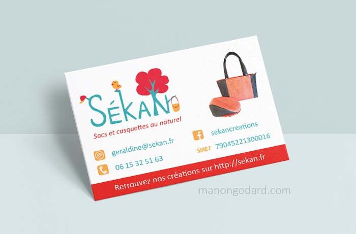 "Carte de visite de la marque ""SéKaN"", créatrice de sacs"