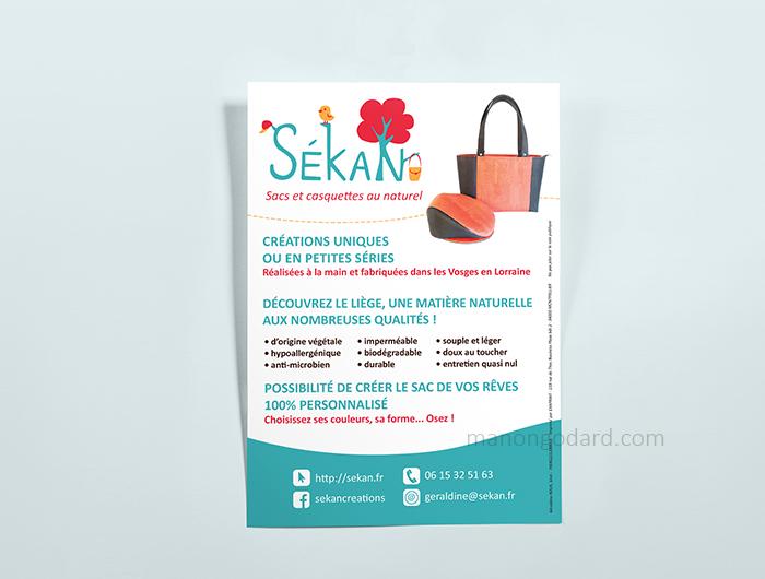 Flyer publicitaire pour la marque SéKaN, créatrice de sac