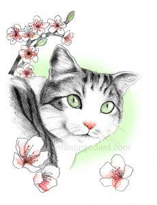 Illustration d'un chat sous les fleurs de cerisiers - dessin au crayon à papier