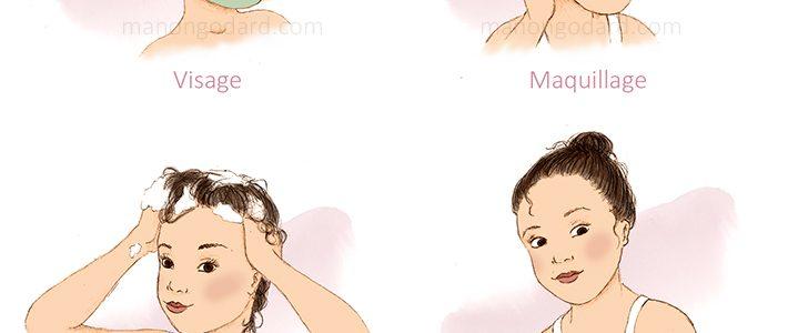 Illustrations sur le thème de la beauté : corps, cheveux, visage, maquillage