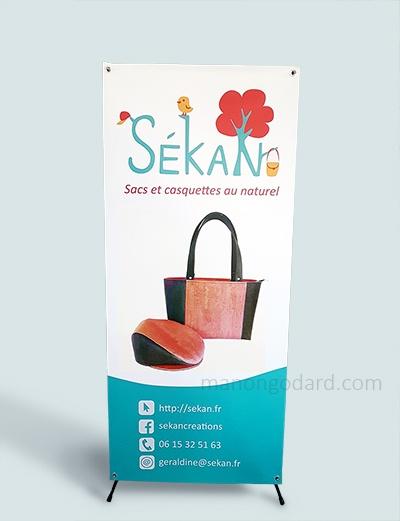 Kakémono, présentoir publicitaire pour SéKaN, créatrice de sacs