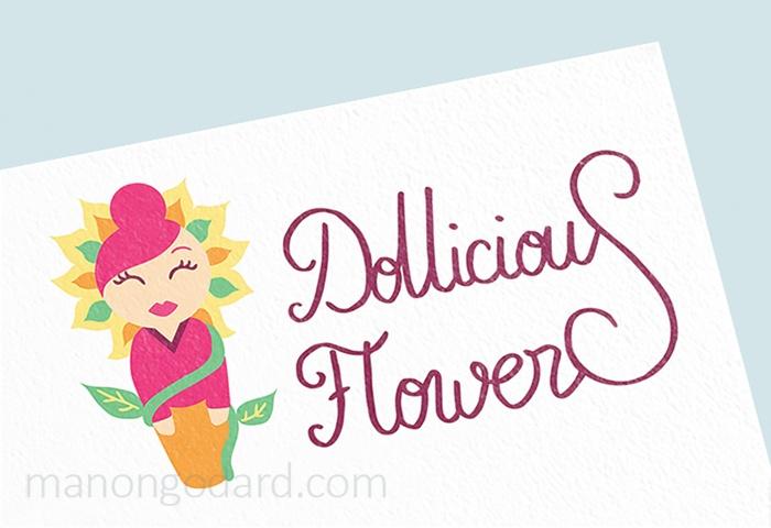 Logo de l'entrepreneuse Dollicious Flowers, créatrice de poupées miniatures