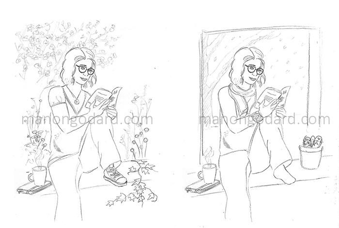 Illustrations pour le blog de Chibi, lecture, beauté & lifestyle - Croquis