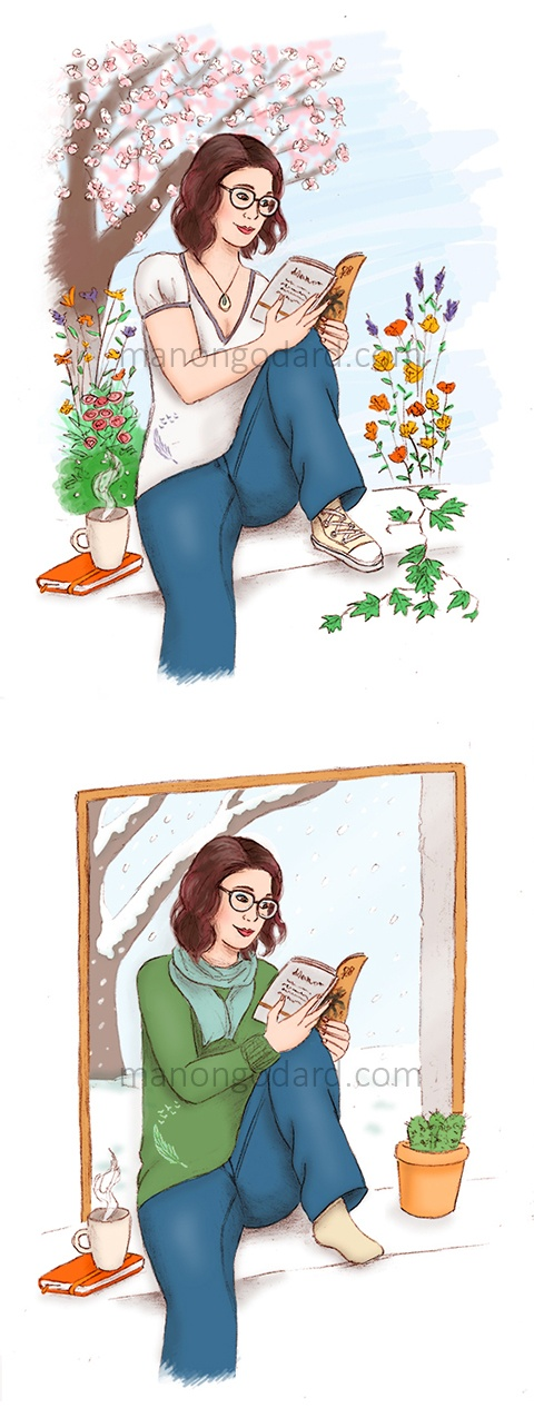 Illustrations pour le blog de Chibi, lecture, beauté & lifestyle