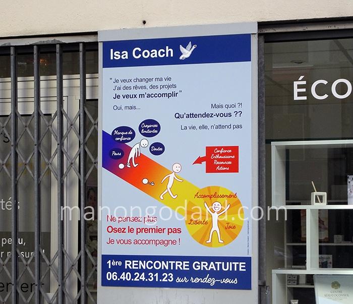 Panneau/affiche pour Isabelle Russo, coach de vie, par Manon Godard