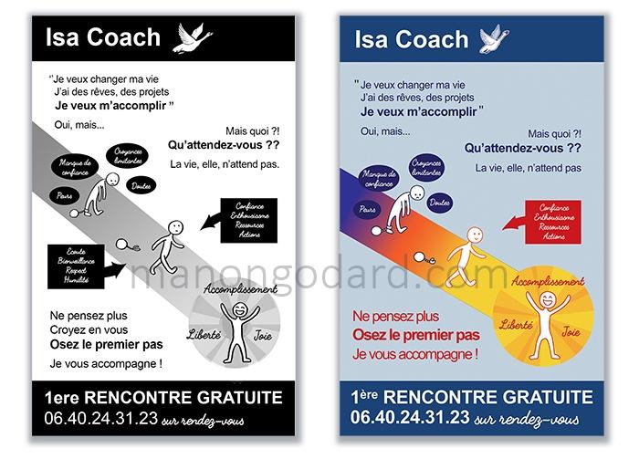 Recherches/croquis du panneau pour Isabelle Russo, coach de vie, par Manon Godard