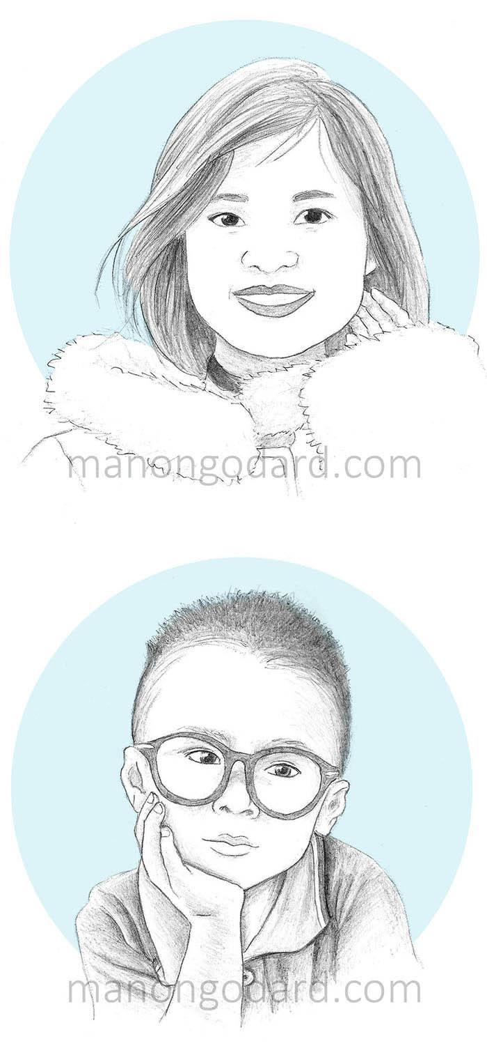 Portraits au crayon à papier