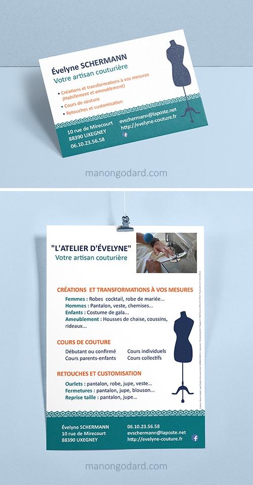 Carte de visite et Flyer pour l'entrepreneuse et couturière L'atelier d'Evelyne, par Manon Godard