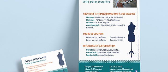 Carte de visite et flyer pour L'atelier d'Évelyne, couturière