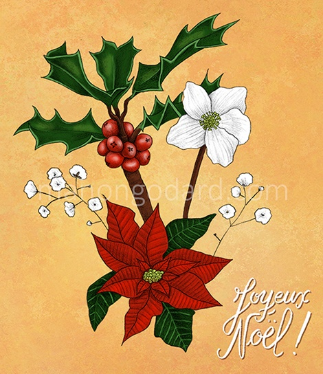 """Illustration végétale """"Joyeux Noël !"""" par Manon Godard"""