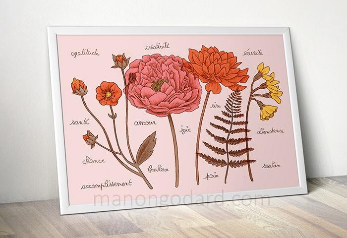 Fleurs et végétaux, illustration au crayon par Manon Godard