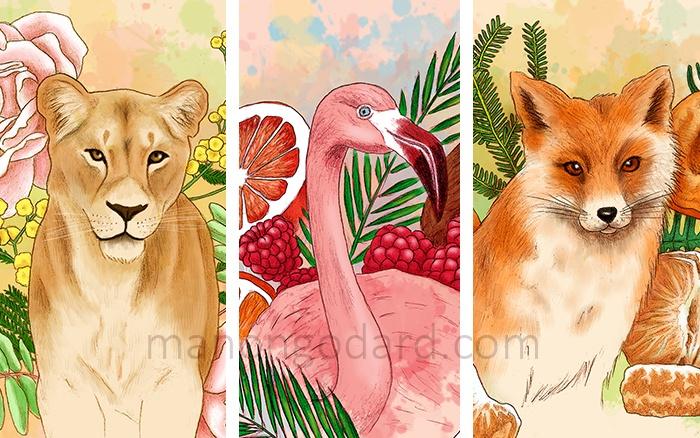 Illustration Animaux, Fruits et Fleurs par Manon Godard