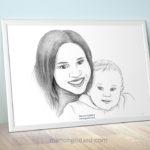 Portrait d'une maman et son bébé (+ vidéo du dessin)