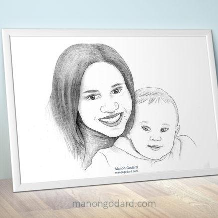 Dessin portrait fête des mères par Manon Godard