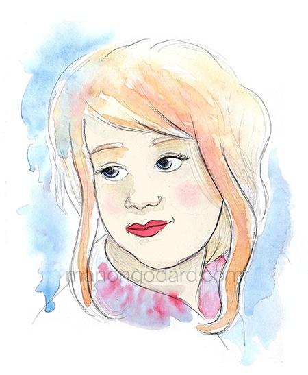 Illustration/portrait à l'aquarelle et dessin au crayon, par Manon Godard