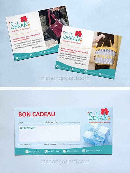 Flyer et bon cadeau pour une créatrice de sacs, par Manon Godard