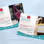 Flyer de remerciement et carte-cadeau pour SéKaN, créatrice de sacs en liège