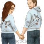 Illustration d'un couple de futurs mariés et de leur chat