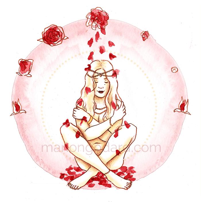 """""""Pluie de pétales rouges"""", illustration pour le #RougePower par Manon Godard"""