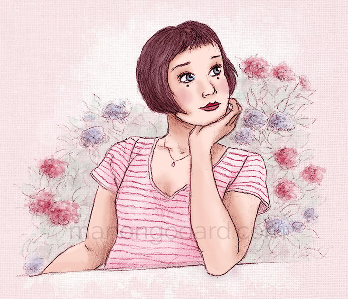 """Judith assise près des hortensias"", illustration par Manon Godard"