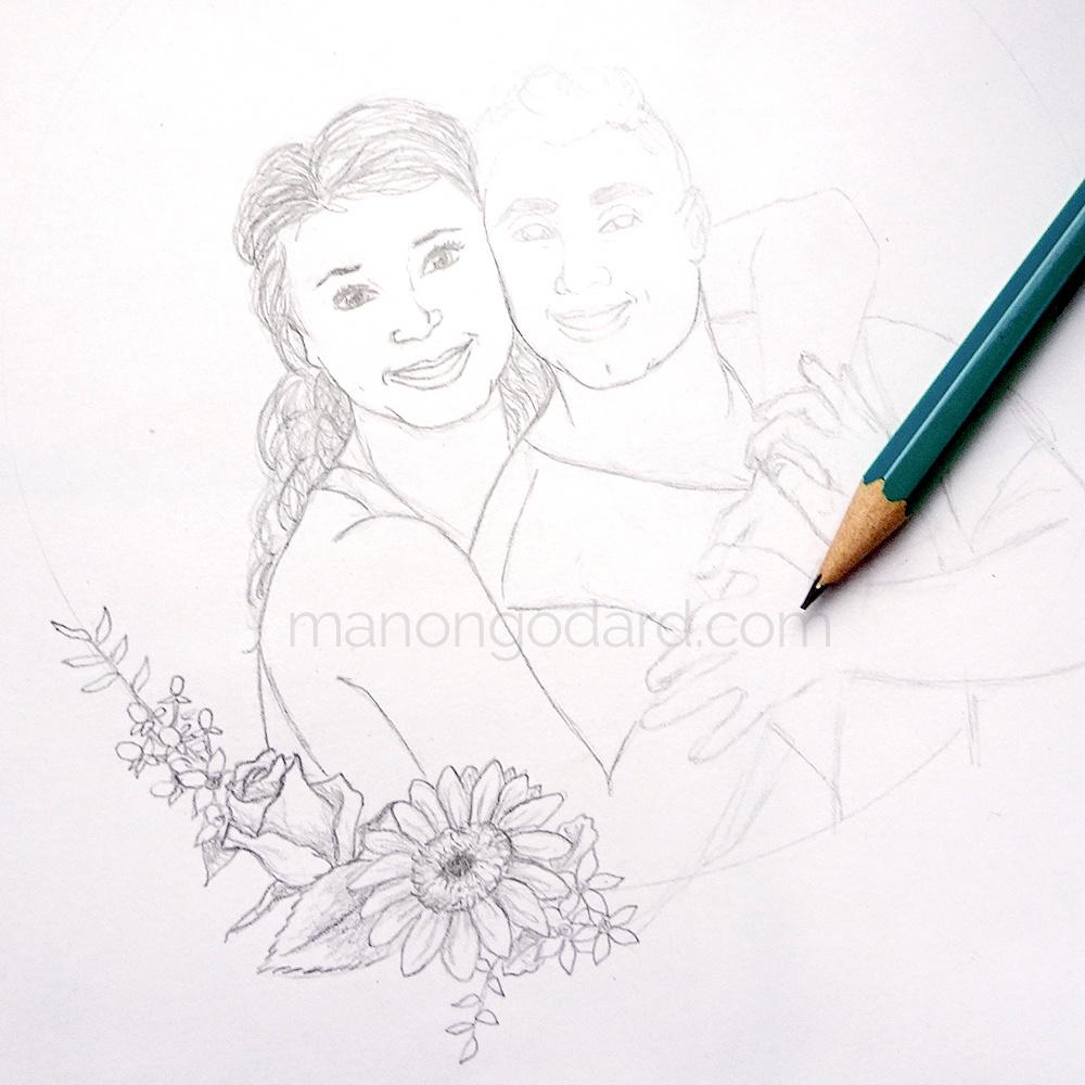 Dessin personnalisée d'un couple pour faire-part de mariage floral par Manon Godard