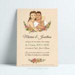 Faire-part de mariage floral avec illustration du couple