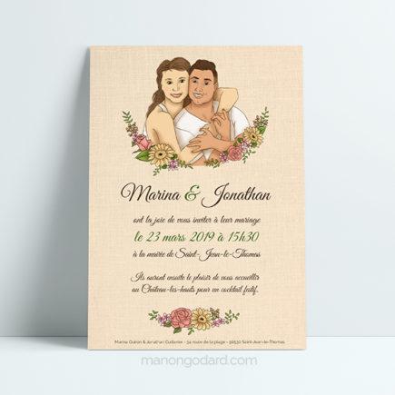 Faire-part de mariage floral avec illustration du couple par Manon Godard
