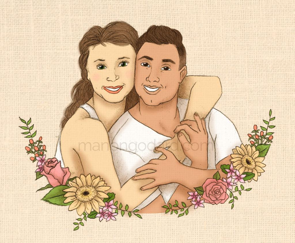 Illustration personnalisée d'un couple pour faire-part de mariage floral par Manon Godard