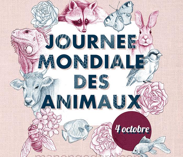 Illustration pour la Journée Mondiale des Animaux par Manon Godard (2018)