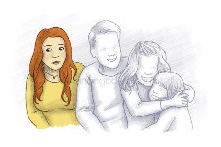 Illustration déprime, à la charge mentale, manque d'épanouissement dans la vie familiale, bore-out, burn-out, dépression - par Manon Godard
