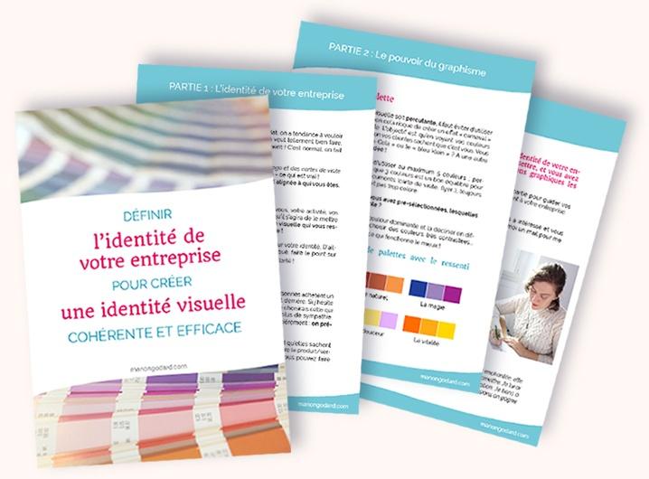 """Ebook gratuit """"Definir l'identité de votre entreprise pour créer une identité visuelle cohérente et efficace"""" par Manon Godard"""